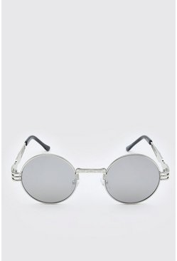 Metal grey Vintage Arm Detail Round Sunglasses