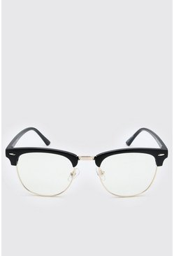 Black Retro Style Clear Lens Glasses