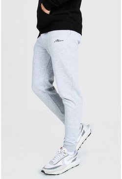 Grey marl MAN Signature Embroidered Skinny Joggers