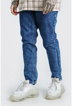 Mid blue blue Tapered Acid Wash Jeans