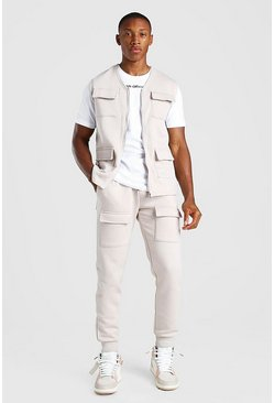 Nude MAN Official 3 Piece Utility Vest T-Shirt And Jogger