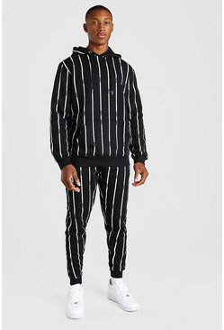 Black All Over MAN Stripe Tracksuit