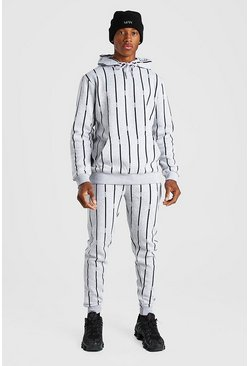 Grey marl grey All Over MAN Stripe Tracksuit