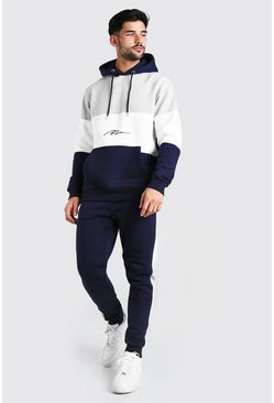 MAN Signature Colour Block Hooded Tracksuit, Multi