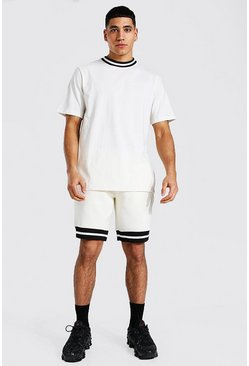 Ecru white Contrast Rib T-shirt & Short Set