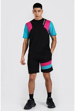 Man Official Colour Block T-shirt & Short Set, Black Чёрный