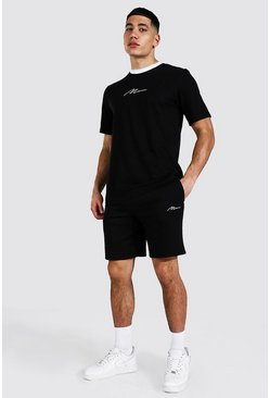 Man Signature Contrast Rib Tee & Short Set, Black Чёрный