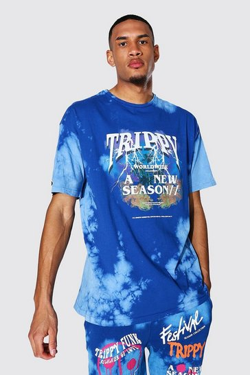 Blue Tall Oversized Trippy Tour Tie Dye T-shirt