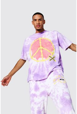 Purple Tall Oversized Peace Tie Dye T-shirt