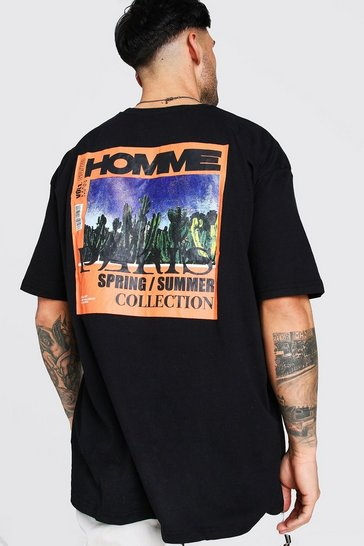 Black Oversized MAN 'Homme' Front And Back Print T-Shirt