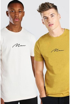 Multi MAN Signature T-Shirt 2 Pack