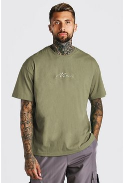 Green Oversized MAN Signature Embroidered T-Shirt