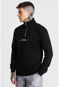 Black MAN Signature Funnel 3/4 Neck Zip Sweat