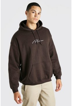 Brown MAN Signature Oversized Hoodie