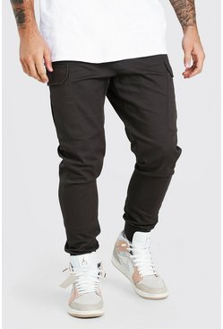 Grey Cargo Trousers With Elasticated Waist