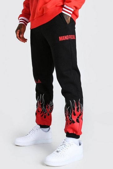 Black MAN Official Flame Print Jogger