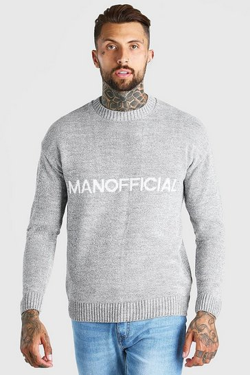 Grey marl grey MAN Official Crew Neck Loose Fit Jumper