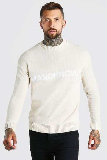 Beige MAN Official Crew Neck Loose Fit Jumper