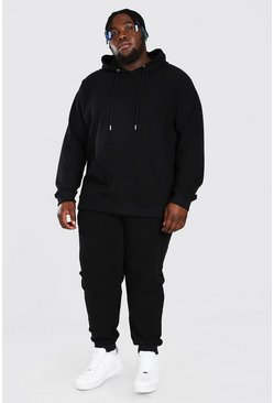 Black Plus Size Pique MAN Script Hooded Tracksuit