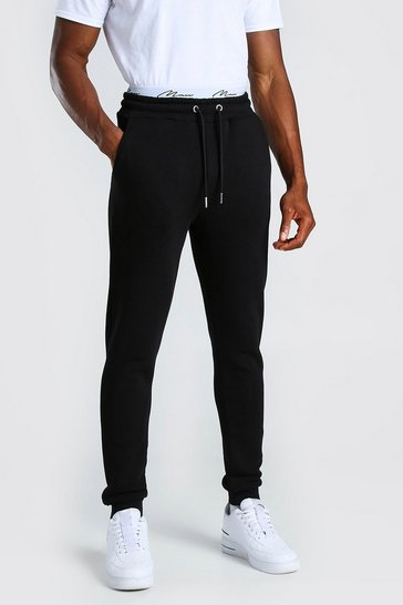 Black MAN Signature Embroidered Waist Skinny Fit Jogger