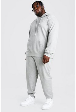 Grey Plus Size Pique MAN Script Hooded Tracksuit