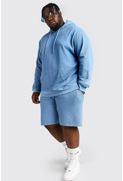 Dusty blue blue Plus Size Pique Hooded Short Tracksuit