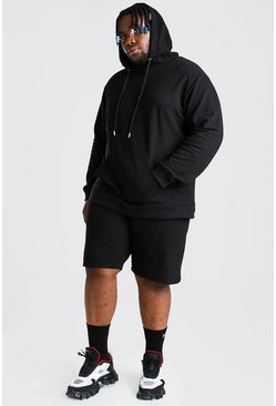 Black Plus Size Pique Hooded Short Tracksuit
