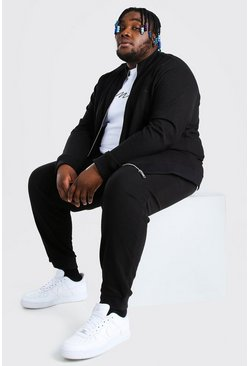 Black Plus Size MAN Pique Funnel Neck Tracksuit
