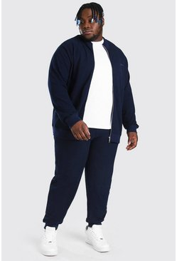 Navy Plus Size MAN Pique Funnel Neck Tracksuit