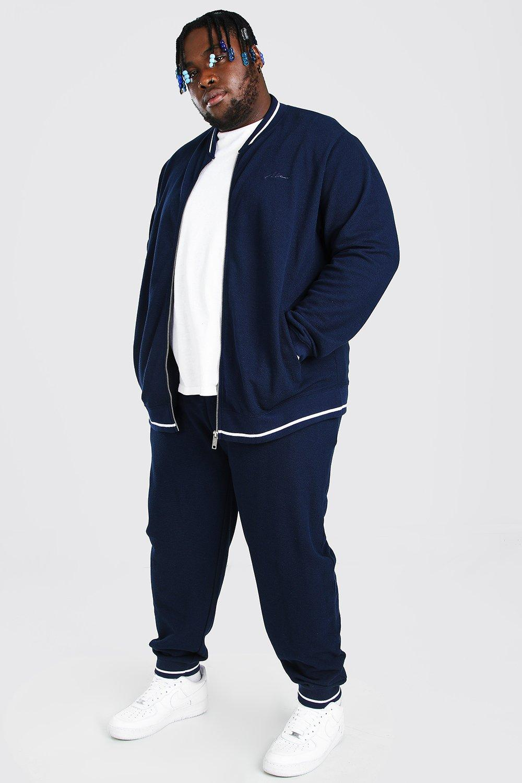 Men's Plus Size Clothing Plus Size Pique MAN Bomber Tracksuit