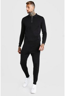 Black Long Sleeve Half Zip Knitted Polo Jogger Set