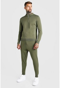 Sage green Long Sleeve Half Zip Knitted Polo Jogger Set