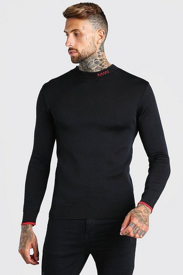 Black MAN Dash Muscle Fit Knitted Jumper