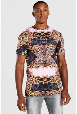 Black Muscle Fit Original MAN Baroque Print T-Shirt