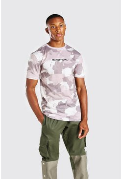 Khaki Muscle Fit MAN Official Camo Print T-Shirt