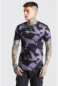 Black Muscle Fit MAN Official Camo Print T-Shirt