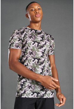 Khaki Muscle Fit Camo Print T-Shirt