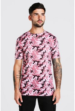 Burgundy red Muscle Fit Camo Print T-Shirt