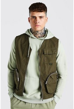 Khaki Twill Zip Through Utility Vest