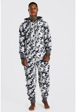 MAN Camo Print Onesie With Hood, Grey gris
