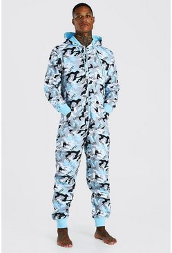 Blue MAN Camo Print Onesie With Hood
