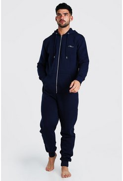 Navy MAN Signature Onesie With Hood