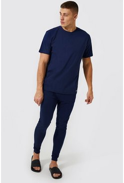Navy MAN Signature Lounge Jogger And T-Shirt Set