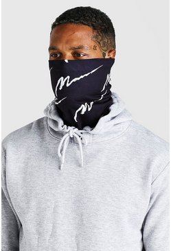 Black MAN Script All Over Snood And Fashion Mask
