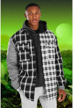 Black Burna Boy Oversized Spliced Check Padded Overshirt