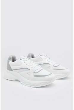 Chunky Panelled Trainers, White bianco