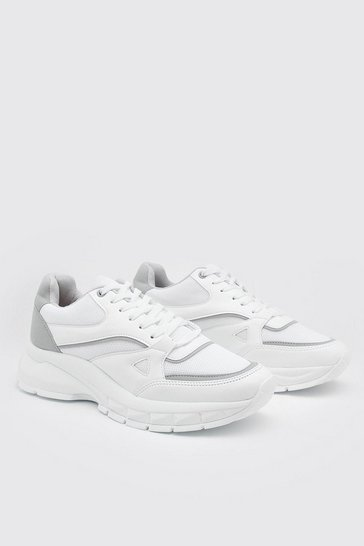 White Chunky Panelled Trainers