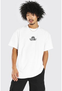 Oversized Fallen Idols Front And Back Print T-Shirt, White blanco