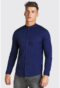 Blue Grandad Collar Long Sleeve Cotton Poplin Shirt
