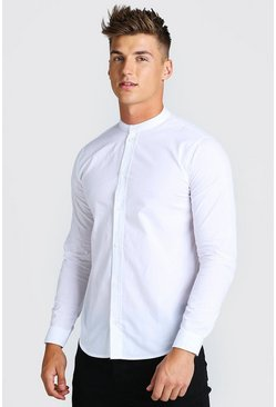 White Grandad Collar Long Sleeve Cotton Poplin Shirt